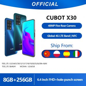 """Cubot X30 8GB Smartphone 48MP Five Camera 32MP Selfie NFC 256GB 6.4"""" FHD+ Fullview Display Android 10 Global Version Helio P60"""